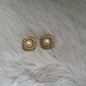 Vintage Square Gold & Pearl Earrings